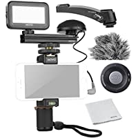Movo Smartphone Video Kit V3 with Grip Rig, Omnidirectional Microphone, LED Light & Wireless Remote - for iPhone 5, 5C, 5S, 6, 6S, 7, 8, X (Regular and Plus), Samsung Galaxy, Note & More