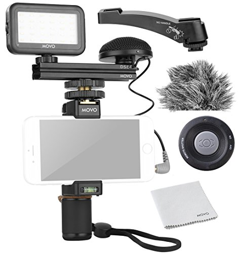 Movo Smartphone Video Kit V3 with Grip Rig, Omnidirectional Microphone, LED Light & Wireless Remote - for iPhone 5, 5C, 5S, 6, 6S, 7, 8, X, XS, XS Max, Samsung Galaxy, Note & More