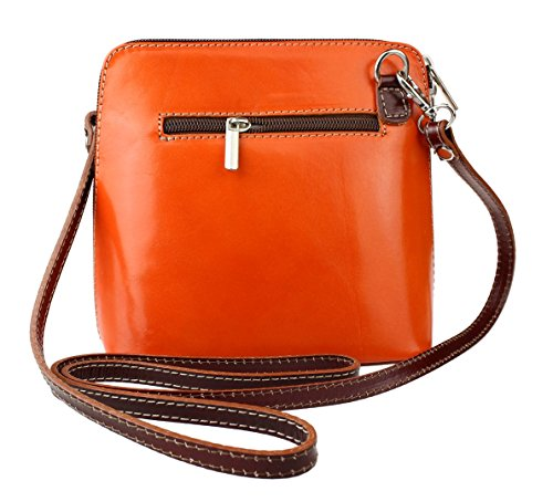 para cruzados Piel Bolso de Orange Girly mujer Handbags Chocolate fAnCX