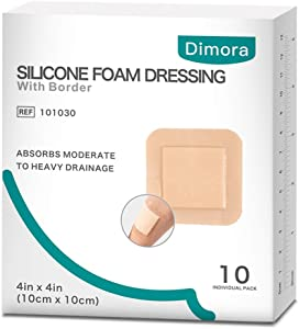 """Silicone Foam Dressing with Border Adhesive Waterproof 4""""*4""""(10 cm*10 cm) Pack of 10 Square Dressing for Wound Care"""