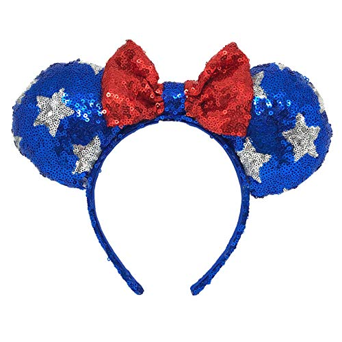 Minnie Mouse Ears Headband Patriotic Stars Red White and Blue