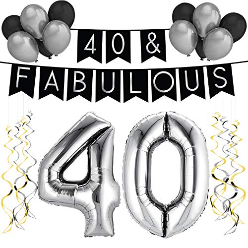 40 & Fabulous Birthday Party Pack – Black & Silver Happy Birthday Bunting, Balloon, and Swirls Pack- Birthday Decorations – 40th Birthday Party Supplies