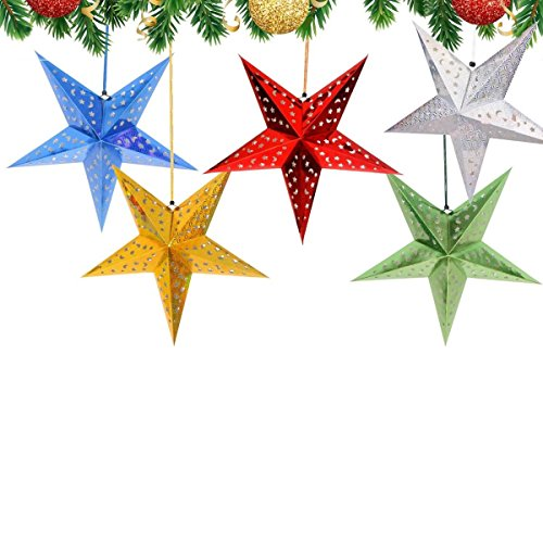 Christmas Paper Lanterns - Christmas Paper Stars Lantern Decorations - Set of 5 Colors - 24 Inches Large & Colorful Party Stars (Lights Not Included)