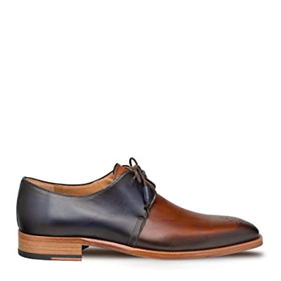 Mezlan Montes - Mens Luxury Lace-Up Dress Shoes - Classic 2-Eyelet Plain Toe Blucher with Two-Toned Hand-Burnished Italian Calfskin Leather - Handcrafted in Spain - Medium Width (Cognac/Blue, 10) | Loafers & Slip-Ons [3Bkhe0305323]