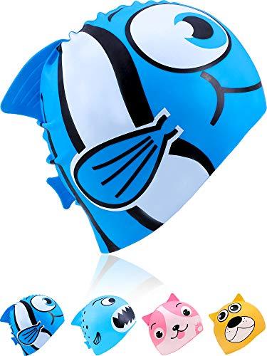 Geyoga Kids Swimming Cap Children Silicone Swim Cap Waterproof Animal Swim Cap for Avert Wet Hair (Dark Blue Goldfish) (Swimming Animal Cap)