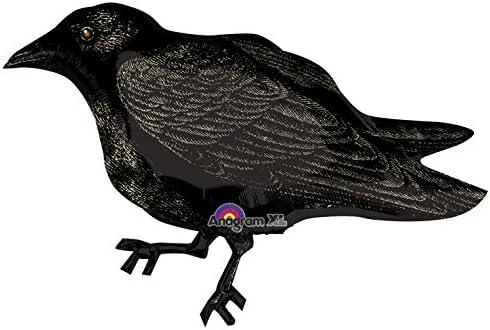 7 pc Black Crow Happy Halloween Balloon Bouquet Party Decoration Bird Raven