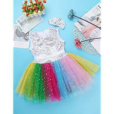vastwit Toddlers Kids Girls Halter Shiny Sequined Ballet Dance 3D Flower Tutu Dress Stage Performance Costumes: Clothing