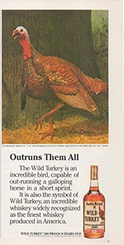 Magazine Print Ad 1982 Wild Turkey Kentucky Straight Bourbon Whiskey, 101 Proof, 8 years old,Outruns them All
