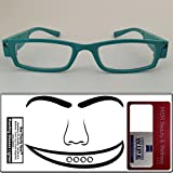 Reading Glasses Lighted ~ See Clearly Now Kit(TM) - 8 Batteries, Carl Zeiss Lens Cloth, Credit Card Magnifier ~ Corrective LED Readers with Lights Provide Hands Free Illumination ~ 2.5x TURQUOISE