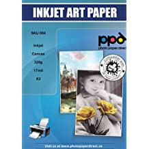 """PPD Inkjet Canvas 100% Real Printable Cotton 320g 17mil 11.7 x 16.5"""" (A3)"""