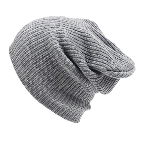 [Winhurn Winter Warm Men Women Stripes Beanie Knitted Ski Hat Hip-Hop Cap (Gray)] (Hip Hop Felt Hat With Feather)