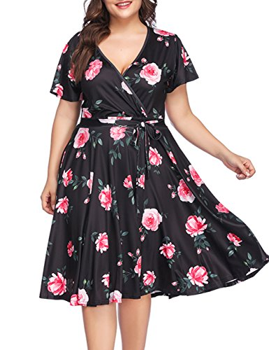 PARTY LADY Womens Floral Print Boho Dress V-Neck Wrap Beach Dress Plus Size 4XL (Plus Size Wrap Dress)