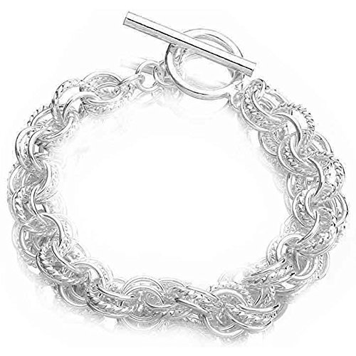 PMANY Fashion Jewelry 925 Sterling Silver Plated Twisted String Circle Rings Bangle Bracelet (T-Circle)