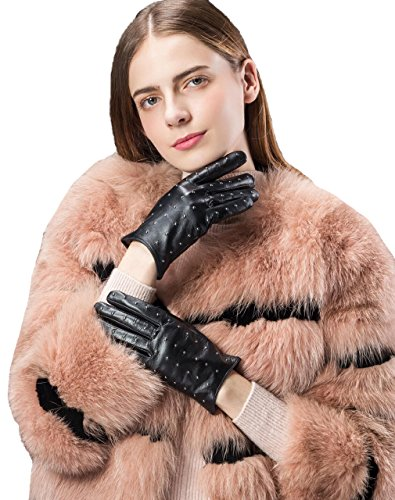 子羊スーパーマーケット刺すタッチスクリーン女性のシープスキン暖かい裏地レザー冬手袋キルト風リベット