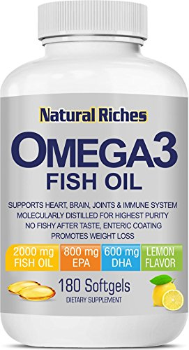 Omega 3 Fish Oil Supplement from Natural Riches, 180 Softgel Capsules - Lemon Flavor, Essential Fatty Acids, Triple Strength, Burpless, 800mg EPA, 600mg DHA 100 % Natural