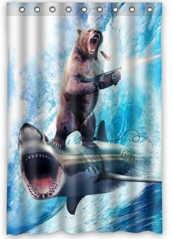 Fashion Bear With Riding Shark Never Stop Dreaming Shower Curtain 48quot
