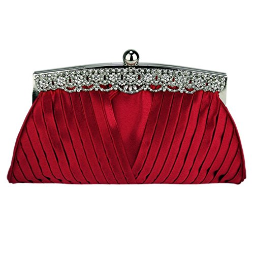 Clutch Bag Party Evening Top With Ruched Red Bridal Prom Bags Decoration Crystal Wedding Satin Handbag The Along U5q7S
