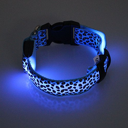 Pinleg Pets LED Dog Lights Leopard Flash Night Safety Waterproof Collar Makes Your Dog Visible Safe Seen 4 Colors Sizes (Blue, M)