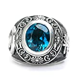 Men's Classic Antique Vintage Blue Topaz Gemstone Solid 925 Sterling Silver Biker Fashion Daily Wear Ring Set
