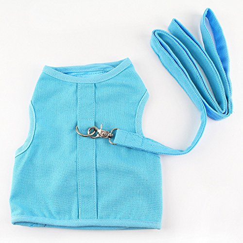 Cat Vest Harness & Matching Leash 10-14'' Chest by Midlee (X-Small, Blue) by Midlee