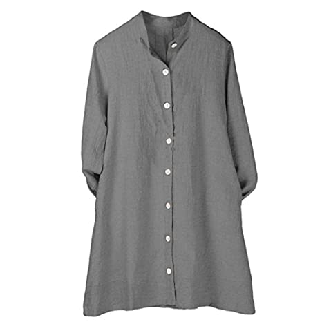 Amazon.com : Clearance!Youngh Womens Blouses Solid Button Mandarin Collar Loose Long Sleeve cotton Casual Tunic Blouse T Shirt Tops : Grocery & Gourmet Food