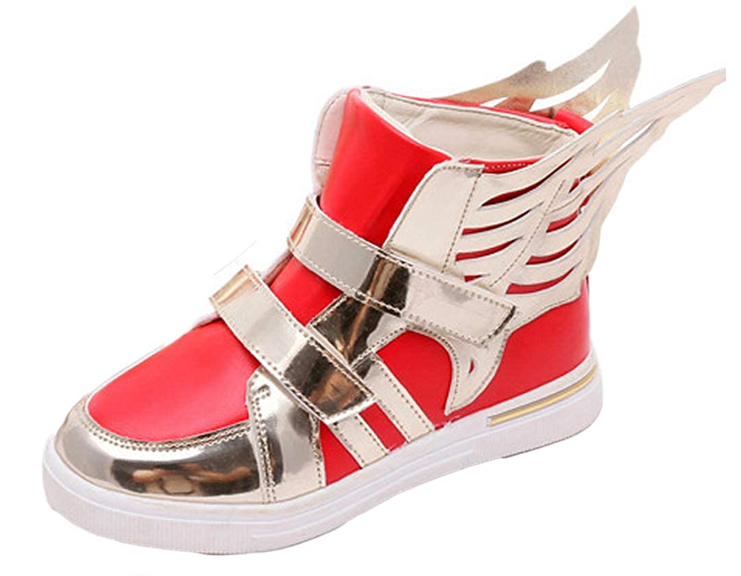 iDuoDuo Boys Girls Cool Wings High Top Sneakers Strap School Sport Shoes (Toddler/Little Kid)