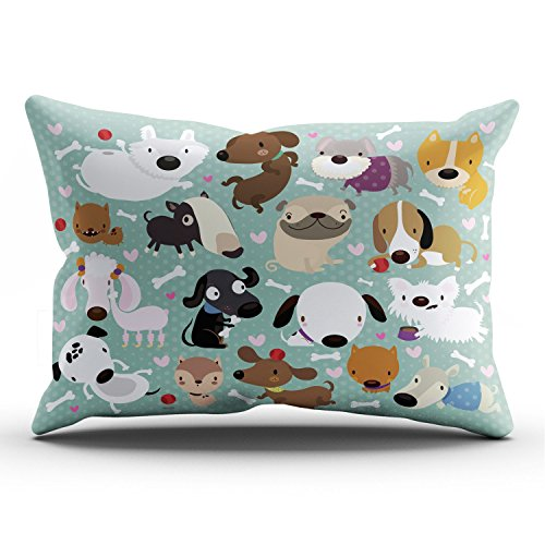 - Hoooottle Custom Luxury Funny Colorful Cartoon Dog Pet Puppy Collection King Pillowcase Rectangle Zippered One Side Printed 20x36 Inches Throw Pillow Case Cushion Cover