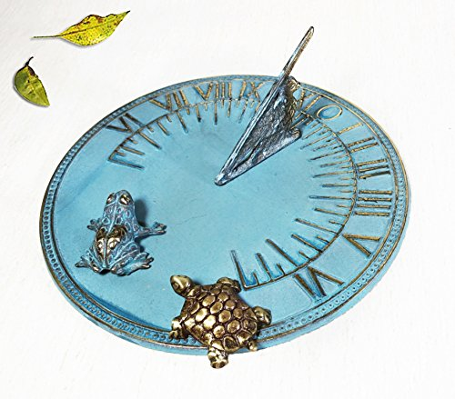 Decorative Brass Sundial 8'' inches wide - with 1 Little Frog & 1 Little Turtle by Taiwan