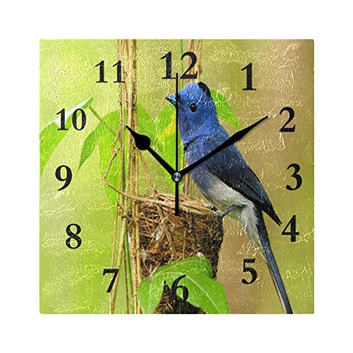 ZHOUSUN Personalized Non Ticking Silent Clock Art Living Room Kitchen Bedroom for Home Decor Amazing Little Bird Square Acrylic Wall Clock