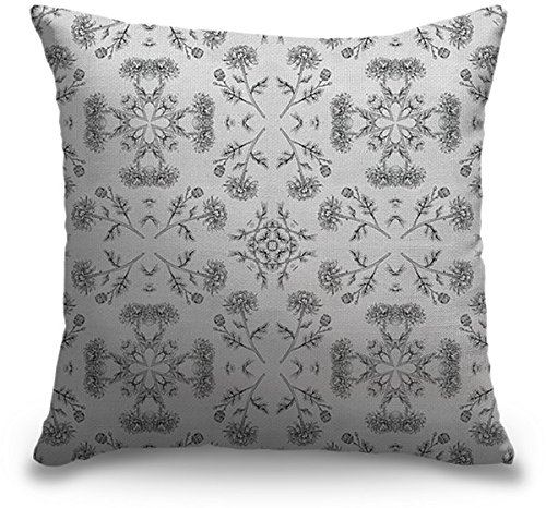 Circle Art Group Indoor Burlap Throw Pillow - Mosaic Chrysanthemums Black And White