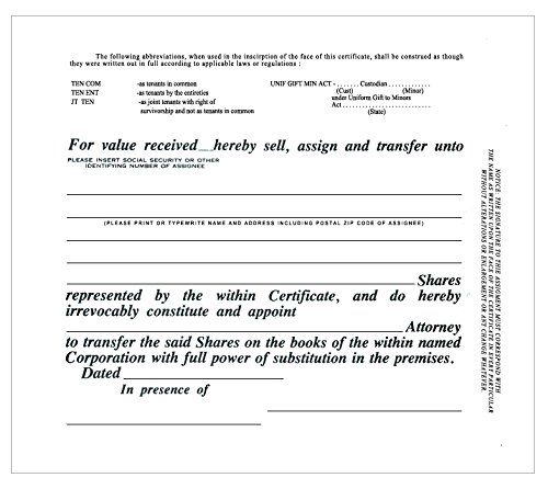 100 Green CorpKit Standard Wording Corporation Stock Certificates (Eagle Border)