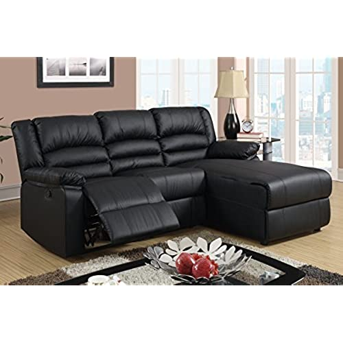 Black Bonded Leather Sectional Sofa With Single Recliner