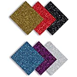 MiPremium Glitter Heat Transfer Vinyl - Iron On Vinyl Sheets of 6 Most Popular Colors, Assorted HTV Glitter Starter Bundle for T Shirts Clothing Fabrics, Easy Weed, Cut & Press Vinyl (Multicolor)