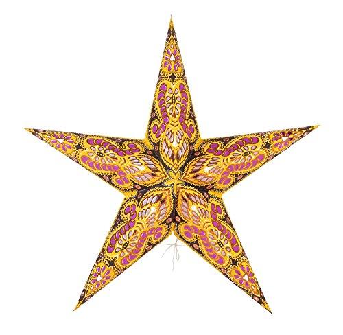 Quasimoon-24-Yellow-Peacock-Glitter-Ganesha-Screen-Paper-Star-Lantern-Hanging-Light-Not-Included-by-PaperLanternStore