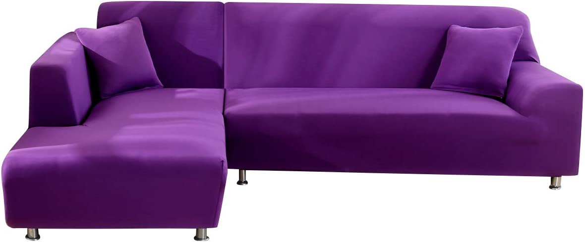 MIFXIN L Shape Sofa Cover 2 Pcs Stretch Slipcovers for Sectional Couch L-Shaped Sofa Furniture Protector Covers for Kids Pets with 2Pcs Pillow Covers (Purple)
