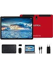 JUSYEA Tablet, 10,1 inch (25,6 cm), Android 10.0, zeer draagbaar, RAM 4 GB, 64 GB uitbreidbaar (Google GMS), JUSYEA, accu 8000 mAh, WLAN, muis, toetsenbord en meer, rood