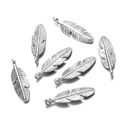 Feather Pendant - Beadthoven 20pcs Tibetan Silver Pendants, Lead Free & Nickel Free & Cadmium Free, Feather Charms for Necklace, Antique Silver