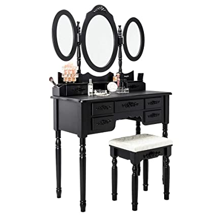 Awe Inspiring Fch Wooden Vanity Set Princess Dressing Makeup Table With Drawersmirrors Bedroom Bathroom Girls Vanity Table 7 Drawers Black Machost Co Dining Chair Design Ideas Machostcouk