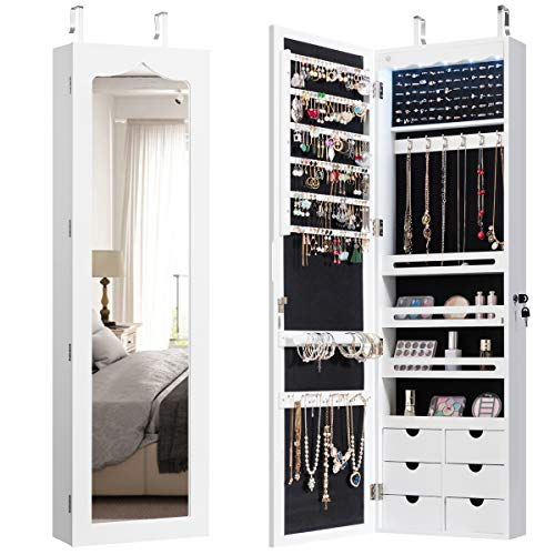 CHARMAID 5 LEDs Mirror Jewelry Armoire Wall Door Mounted, Lockable Jewelry Cabinet -
