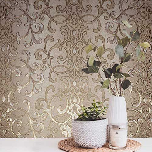 paste the wall modern Embossed Slavyanski wallcovering roll victorian pattern Vinyl Non-Woven Wallpaper grey gray brown coffee hue silver sparkles gold metallic textured stripes 3D damask vintage styl ()