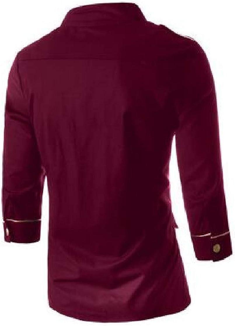 Cromoncent Mens Cotton Slim Three Quarter Sleeve Button Down Shirt