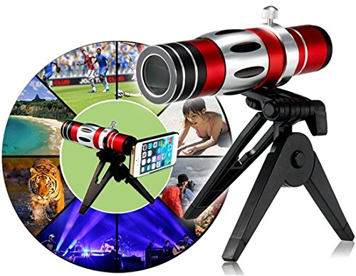 18X Optical Zoom Telescope Lens with 150X Macro lens, Tripod & Case for iPhone 5/5S (Red) Cellphone Gadets