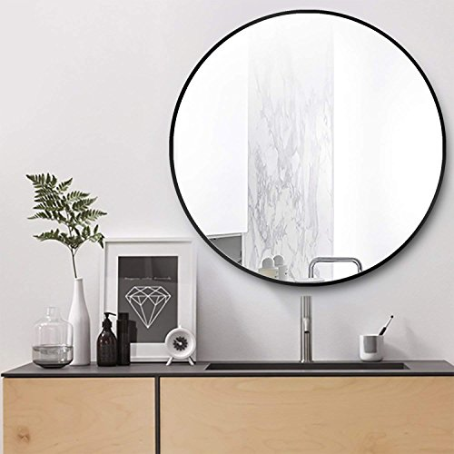 hosaken Wall Mount Round Mirror, Modern Metal Framed Mirror, Decorative Mirror for Bedroom, Living Room and Gallery Way, Size 31.5 , Black