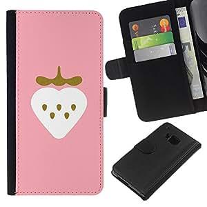 HTC One M7 Modelo colorido cuero carpeta tirón caso cubierta piel Holster Funda protección - Strawberry Art Pink Drawing Watercolor