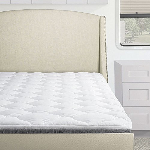- Standard Hypoallergenic Overfilled Pillow Top RV Mattress Pad, RV/Camper Mattress Topper Down Alternative, Three Quarter Size