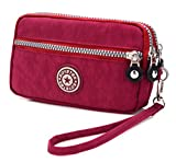 3 Zippers Clutch Wallet Waterproof Nylon Cell phone Purse Wristlet Bag Money Pouch for Women (Red)