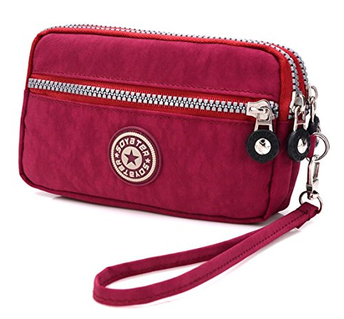 Fabric Wallet Clutch - 3 Zippers Clutch Wallet Waterproof Nylon Cell phone Purse Wristlet Bag Money Pouch for Women (Red)
