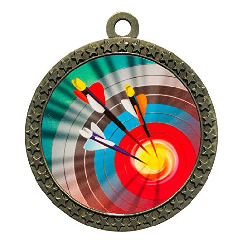 Express Medals Archery Gold Medal Trophy Award with Neck Ribbon STDD212-MY400 50PK ()