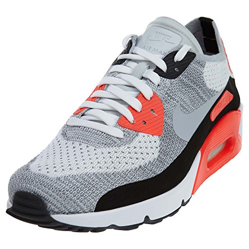 Nike Men's Air Max 90 Ultra 2.0 Flyknit, WHITE/WOLF GREY-BRIGHT CRIMSON, 9 M US