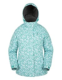 Mountain Warehouse Dawn Women's Printed Ski Jacket - Snow Proof, Insulated & Fleece Lined with Adjustable Hem, Cuff & Hood - Perfect Skiwear for Entry Level Skier Pale Green 2